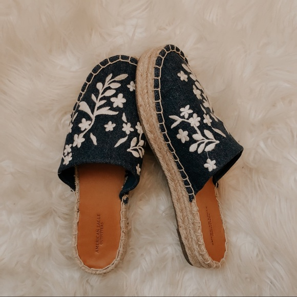 American Eagle Outfitters Shoes - Denim Chambray Embroidered Espadrilles Slip Ons